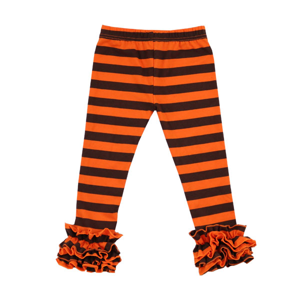 wholesale boutique kids Halloween clothing baby cotton stripe leggings girl toddler icing ruffle pants