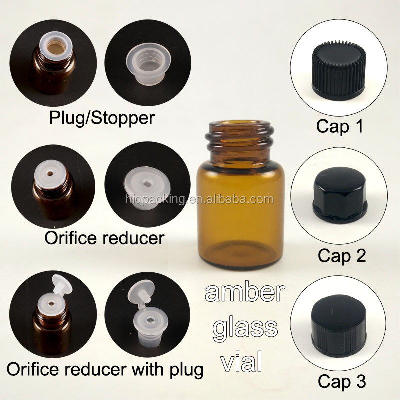mini 3 ml 2ml 3ml essential oil glass dropper orifice reducer bottle with stopper dropper