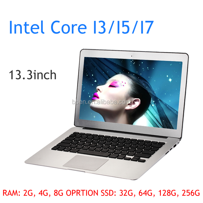 Best 13.3 inch ultrabook with Intel core CPU 2G/4G/8G RAM 128G SSD ultra slim laptop