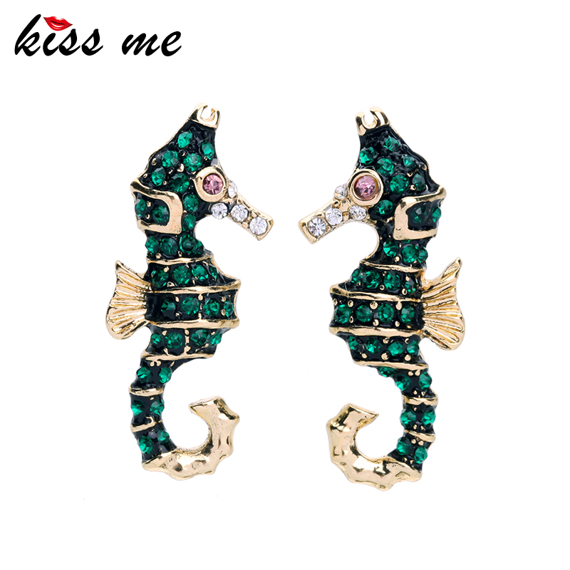 ED00905b Costume Green Crystal Custom Enamel Hippocampus japonicus Stud Earrings Jewelry