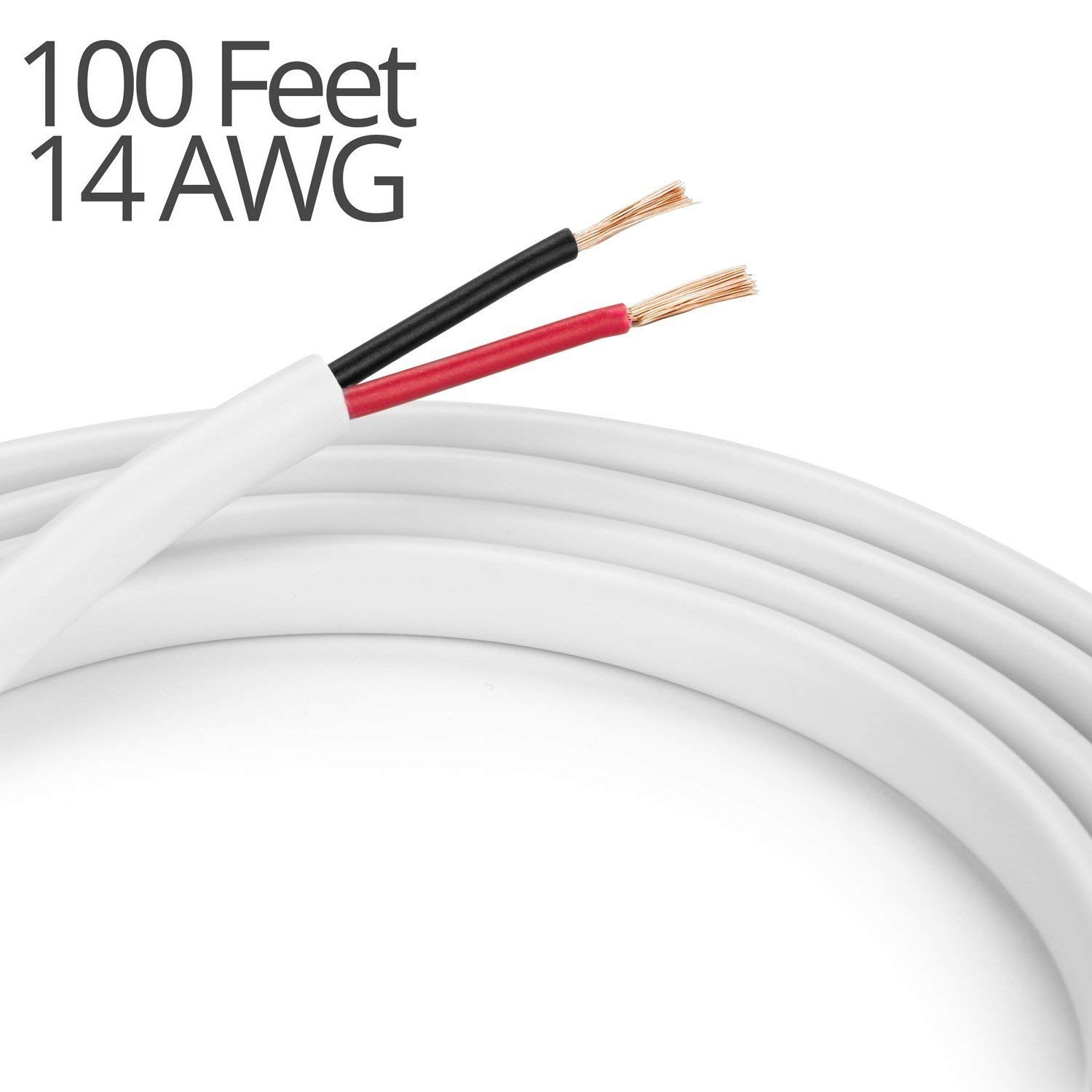 K-tech In Wall Speaker Wire 14AWG UL CL2 Rated 2-Conductor Wire White - Oxygen Free Bare Copper for Home Theater and Car Audio (2-Conductor, 100 Feet)