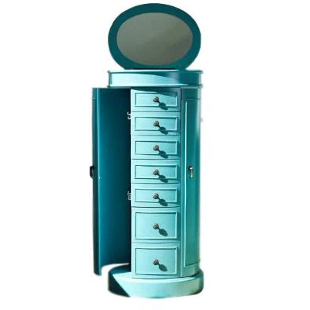 Mid Century Modern Jewelry Armoire Luxury Cabinet Drawers Swing Doors Antique Flip Top Mirror Indoor Bedroom