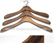 Wooden Coat Hanger Walnut Brown with Brass Hook 17""