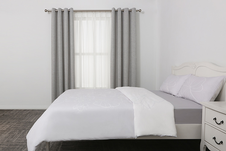 Fancy bed cover with model of living room type of office window curtain
