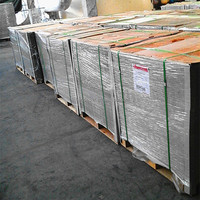 grey chipboard packed on wooden pallet and wrapped by waterproof film