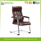 Luxury office furniture High back leather visitor chair meeting chair without wheels
