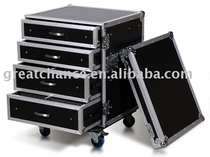 14U RACK WITH 4 DRAWERS; 2X4U AND 2X3U HIGH WITH CASTER BOARD