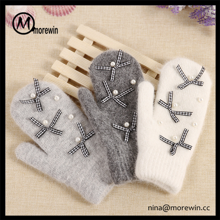 Morewin New Design Lovely Bow Winter Warm Knitted Mittens Custom Rabbit fur Soft Touch Knit Gloves Mittens for Women