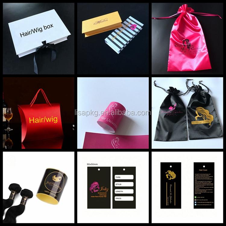 benutzerdefinierte Logo Extension Hair Packaging Schubladenbox für 4 Bundles Hair Packaging