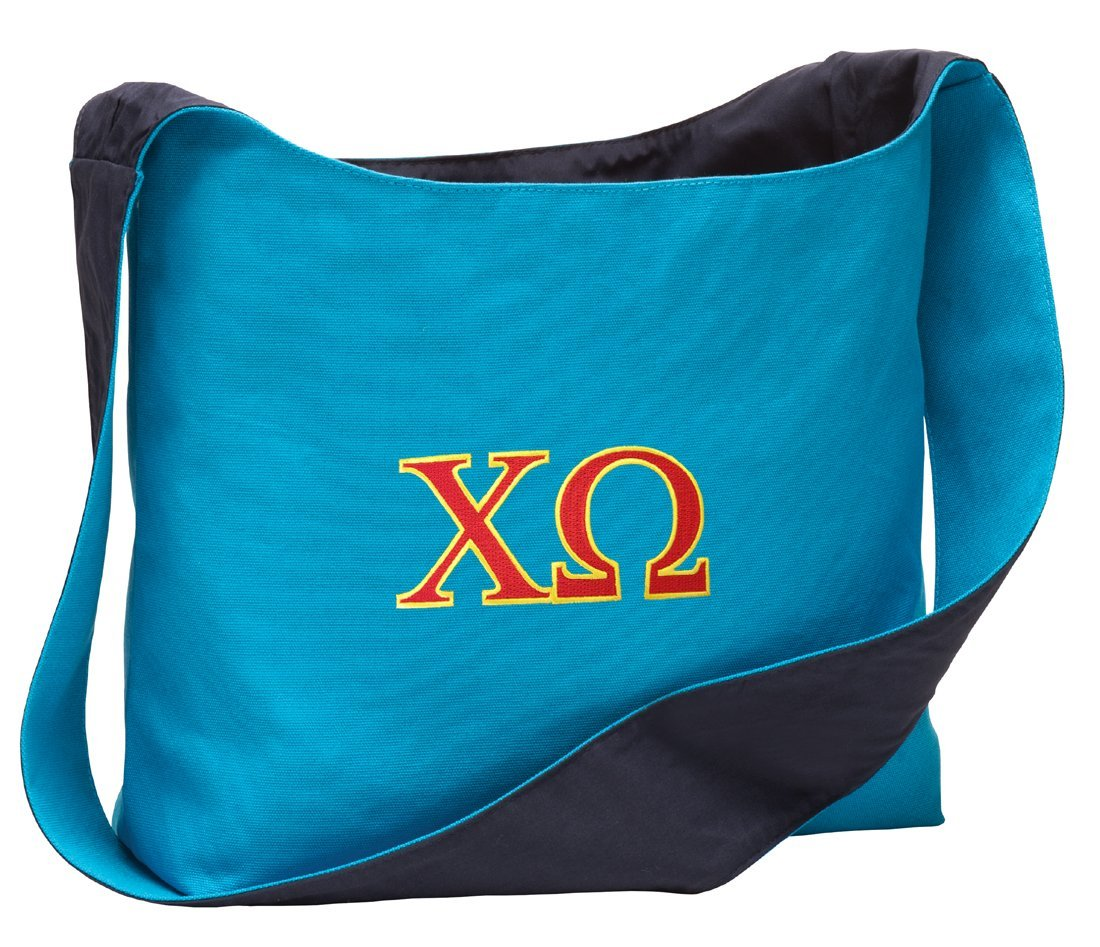 Chi Omega Tote Bag Sling Style Chi O Sorority Cross Body or Over Shoulder Bags