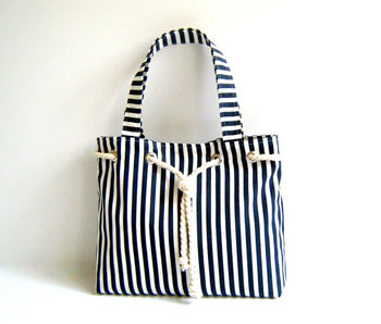 Sailor Tote Bag Navy Blue And White Striped Beach Cotton Rope