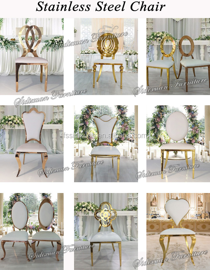 2017 Gold Stainless Steel Oval Back Wedding King Throne Chair