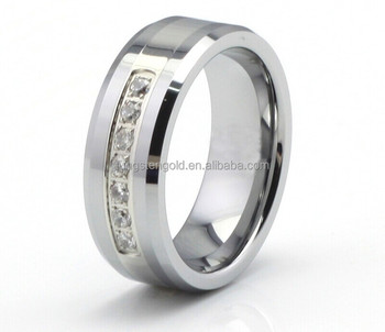 Tungsten Carbide Wedding Rings Jewelry Main Material Polished Diamond Ring