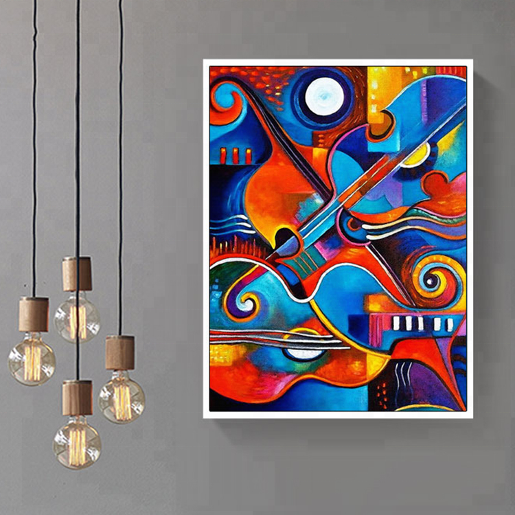 Modern Abstract Picasso Style Guitar Painting Printed on Canvas for European Home Decorations Factory Drop Shipping