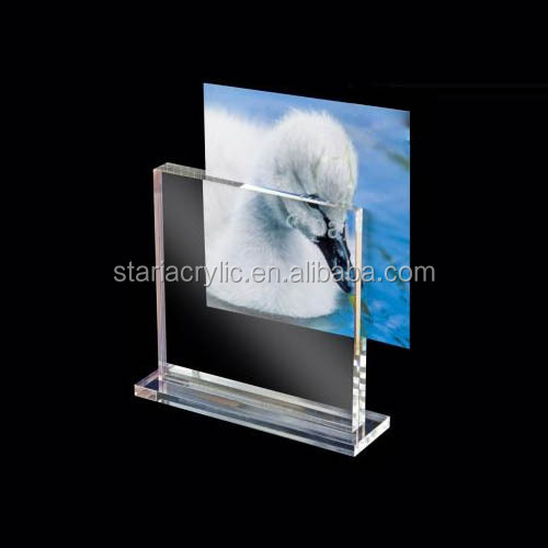 T shaped acrylic photo frame 4 x 6 inches free standing photo frame