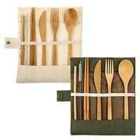 Reusable Knife Fork Spoon Chopsticks Straws Bamboo Cutlery Set
