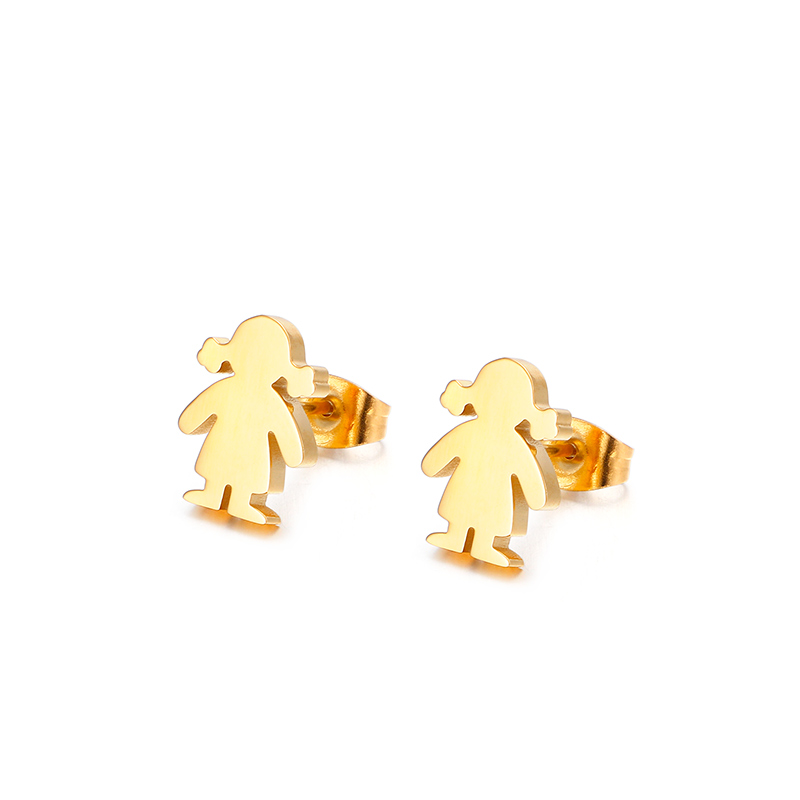 New Cheap Stainless Steel Fashionable Design Gold Simple Ear Studs For Girls