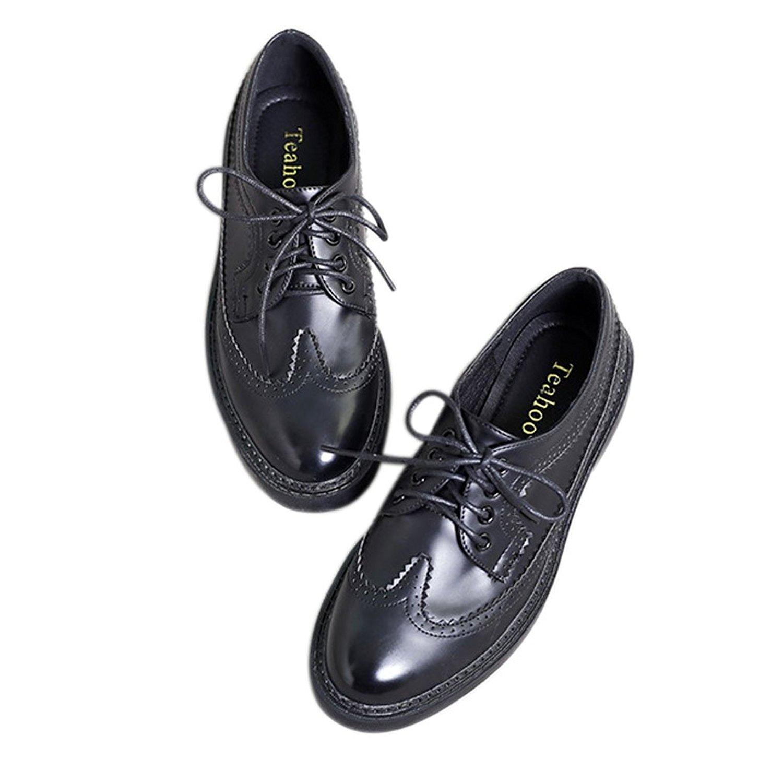 eaf60f1747e Get Quotations · Xianshu Xiansu Womens Patent Leather Lace-up Shoes Flat  Brogues Casual Office Shoes