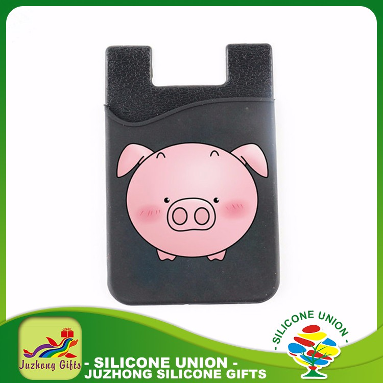 Mini Cartoon Printed Silicone Pocket Mobile Phone Card Holder Wallet