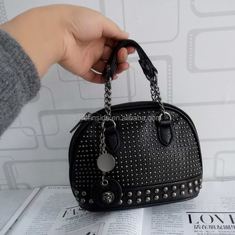 Rivet Skull Women Leather Shell Bag Chain Mini Small Runk Handbag For Female Daily Clutches Purses Fashion Pochette <strong>Shoulder</strong>