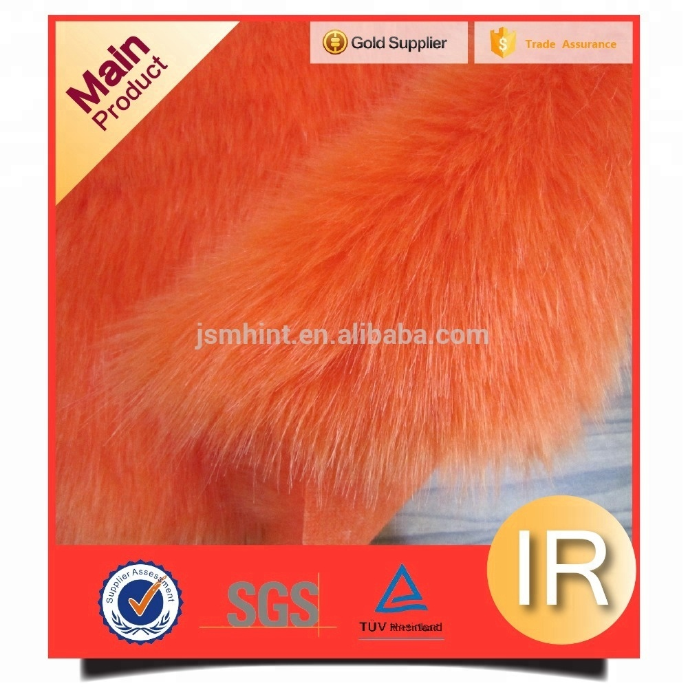 acrylic orange shine long pile artificial fur fabric
