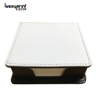 New Products 2018 PU Leather Memo Pad Holder, Sublimation Blank Memo Notes Box With Sticky Notes