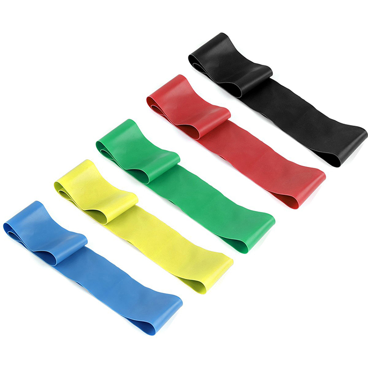 Set Of 5 Yoga Power Latex Loop Logo Exercise Resistance Bands, Various colors