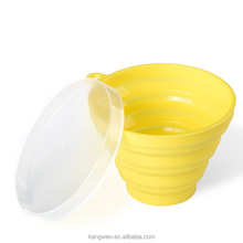 Reusable Silicone collapsible cup Portable drinking water cup with Plastic lids