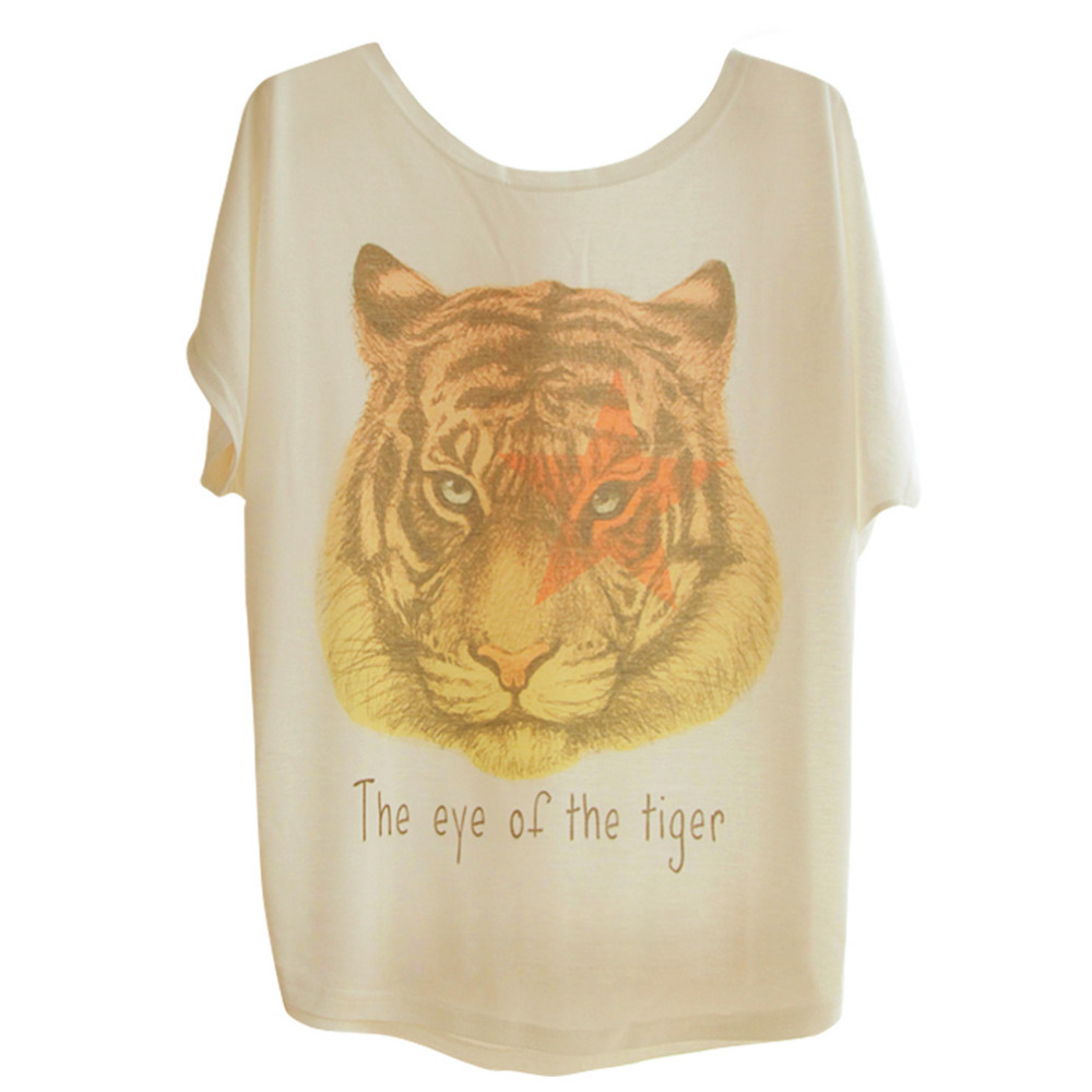 8e2c2eaa32d38b Get Quotations · Ladies European Fashion Style Vintage Animal Tiger Print  Short Sleeve Blouses Shirts For Women Spring/