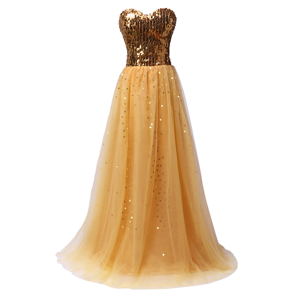 Grace Karin Sequined Gold Prom Dresses Vestido Longo Lace Up Back Tulle Evening Party Prom Gown Vestido De Festa 3459