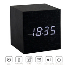 Home Decoration LED Digital Cube Wooden Table Desk Alarm Clock Multicolor Alarm Clock Wall Clock