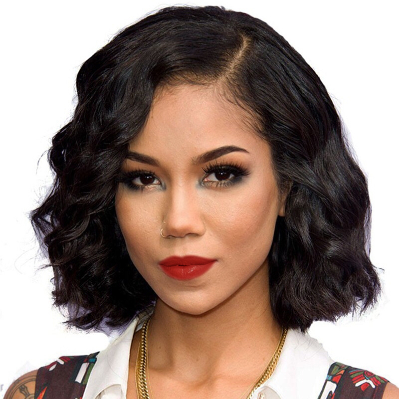 Wholesale Free Shipping Bob Wig Natural Color Body Wave Lace front Human Hair Wig фото