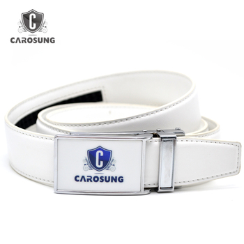 5eded7430ad568 Printed White belt Business Style cowhide mens golf ratchet belt with custom  club logo