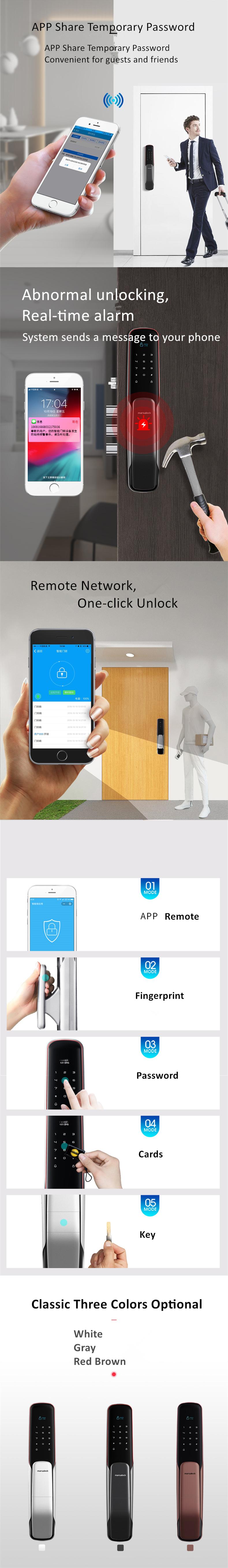 ลายนิ้วมือ / รหัสผ่าน / บัตรแม่เหล็ก / สนับสนุนคีย์บริการ OEM / ODM CE ROHS สมาร์ทล็อคประตู