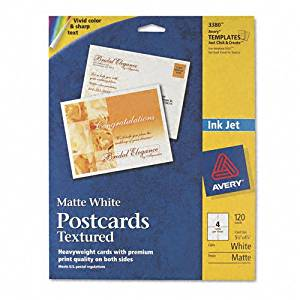 Avery Products - Avery - Personal Creations Printable Textured Postcards, Hvywt, 4.25x5.5, 120/Box - Sold As 1 Box - Ideal for birthday and holiday cards, invitations and announcements. - The high-quality, heavyweight stock and special two-sided coating maximize inkjet printer colors. - Premium