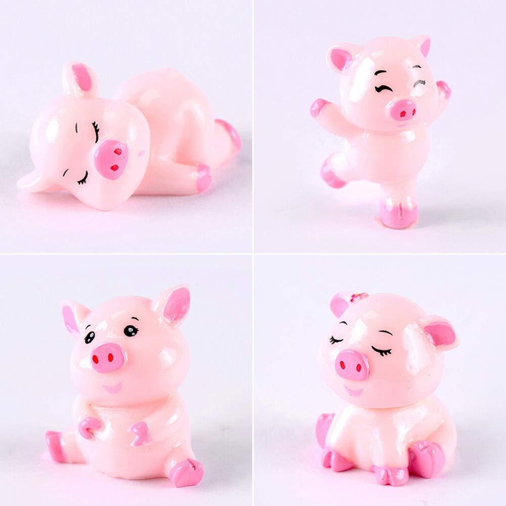 Cerolopy 4pcs Cute Pig Family Animal Model Figurine Home Decor Miniature Fairy Garden Decoration Accessories Statue Resin Craft Figure