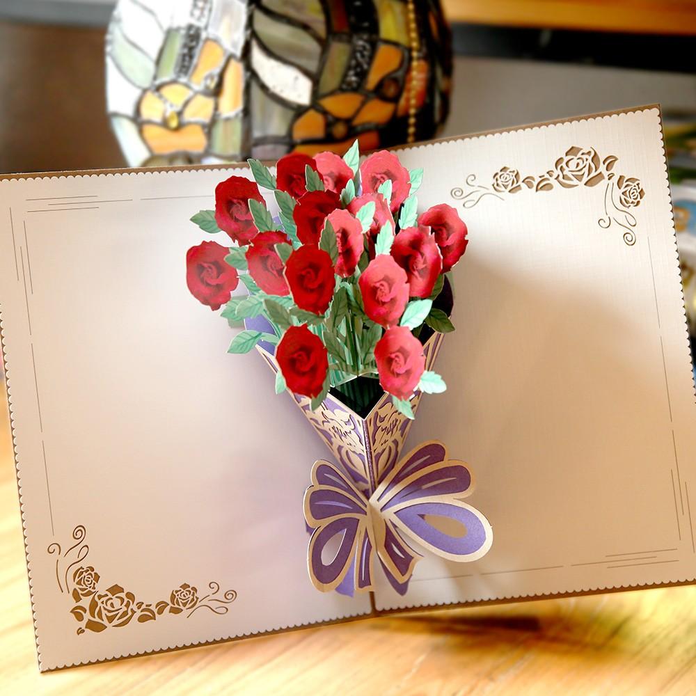 Поп ап открытка с цветами