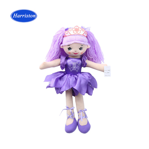 beautiful Purple stuffed soft toy plush ballet girl doll handmade cute rag Purple fairy doll