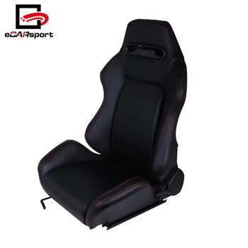 Universal Type-R Car Seat Racing Bucket Black PU Leather Red Stitching Fully Reclinable Racing Seat
