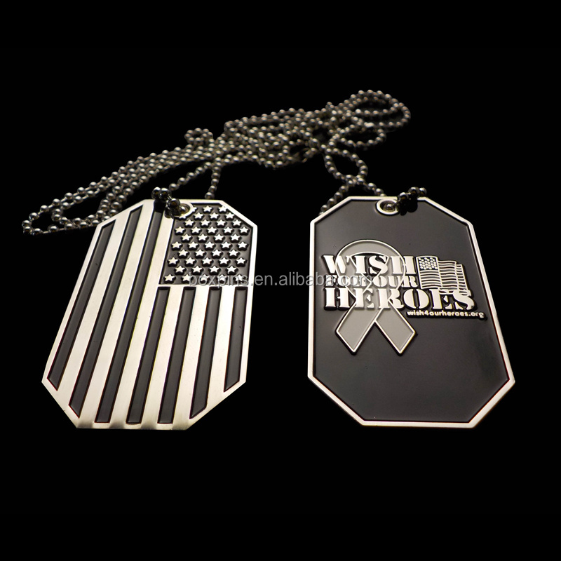Black American Flag Custom Enamel Ribbon Stamped Engraved Necklace