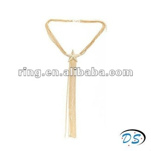 Special unisex neck tie with pentagram long macrame necklace