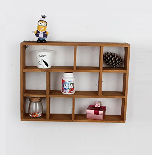 "Chris.W Wall Mounted / Freestanding Cubeicals Off-set Mini 9 Compartment Wooden Organizer Holder Rack Shelf Collection- 15-1/2"" x 3"" x 11-1/2"""