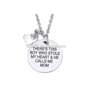 There's This Boy Who Stole My Heart & He Calls Me Mom With Rose Heart Charm Pendant Necklace