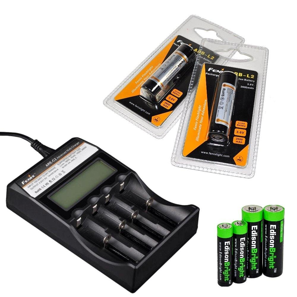 Fenix ARE-C2 four bays Li-ion/ Ni-MH advanced universal smart battery charger, Two Fenix 18650 ARB-L2 2600mAh rechargeable batteries (For PD35 PD32 TK22 TK75 TK11 TK15 TK35 TK51) with EdisonBright Batteries sampler pack