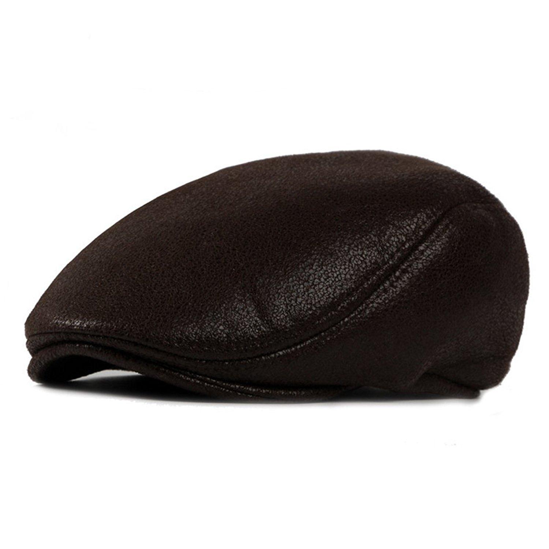 479ec5ae0ab Get Quotations · WAZZIT Vintage PU Leather Newsboy Cap Irish Hats Solid  Beret Hat Ivy Flat Golf Driving Hat