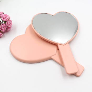 Plastic One Side Heart Shape Hand Mirror Personalized Custom LOGO UV Printing Cosmetic Makeup Handheld Mirror for Girls