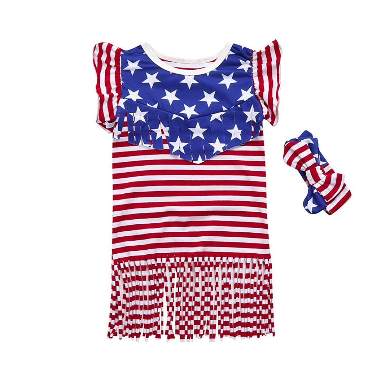 Hemlock Girls Denim Dress Baby Girls Short Sleeve Flower Embroidery Dress 5T, Blue