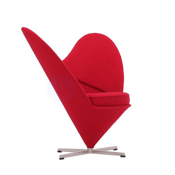 Fabric Heart Shaped Swivel Wing Chair Heart Cone Chair