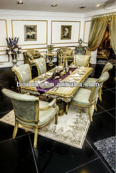 Royal Luxury New Clical Dining Room Furniture Set Table Chairs Moq