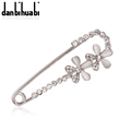 Silver Plated Safety Brooch Jewelry Fashion Rhinestone white Flower Brooches For Women Scarves Corsage Sweater Collar